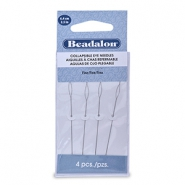 Beadalon Collapsible Eye Needles 6.4mm fine argenté