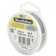 Beadalon stringing wire 19 strand 0.38mm argenté satiné