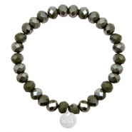 Bracelets Sisa perles à facettes 8x6mm (breloque en acier inox) Dark army green-top shine coating