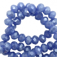 Perles à facettes 4x3 mm disque Clematis blue-pearl shine coating