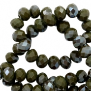 Perles à facettes 4x3 mm disque Dark army green-amber coating