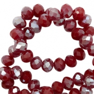 Perles à facettes 4x3 mm disque Rumba red silver-pearl shine coating