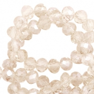Perles à facettes 4x3 mm disque Light champagne-pearl shine coating