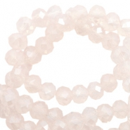 Perles à facettes 4x3 mm disque Light rose pink opal-pearl shine coating
