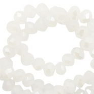 Perles à facettes 4x3 mm disque Blanc-pearl shine coating