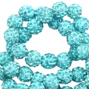 Perles strass 10mm Bleu turquoise