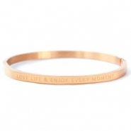 "Bracelets en acier inox ""LOVE LIFE AND ENJOY EVERY MOMENT"" Doré rosé"