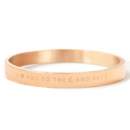 "Bracelets en acier inox ""I LOVE YOU TO THE MOON AND BACK"" Doré rosé"