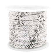 Simili cuir cousu 6x4 mm serpent Blanc