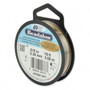 Beadalon stringing wire 49 strand 0.38mm Acier inoxydable plaqué or