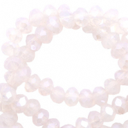 Perles à facettes 4x3 mm disque Opale rose sable-pearl shine coating