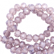 Perles à facettes 8x6mm disque Violet anthracite-pearl shine coating