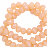 Perles à facettes 8x6mm disque Rose abricot-pearl shine coating
