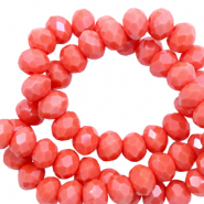 Perles à facettes 4x3mm disque Rouge corail-pearl shine coating