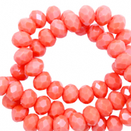 Perles à facettes 3x2mm disque Rouge corail-pearl shine coating