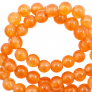 Pierres naturelles Jade rond 8mm Orange vibrante opale