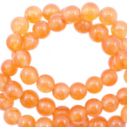 Pierres naturelles Jade rond 6mm Orange vibrante opale