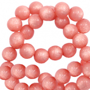 Perles Super Polaris rond 6 mm shiny Rose corail brûlé