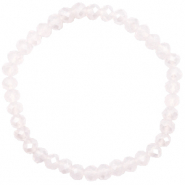 Bracelets perles à facettes 6x4mm Light lavender pink opal-pearl shine coating