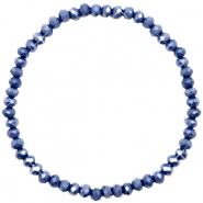 Bracelets perles à facettes 4x3mm Crown blue-pearl shine coating