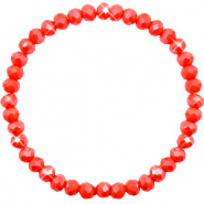 Bracelets perles à facettes 6x4mm Coral red-pearl shine coating