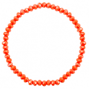 Bracelets perles à facettes 4x3mm Coral orange-pearl shine coating