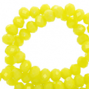 Perles à facettes 4x3mm disque Jaune charlock-pearl shine coating