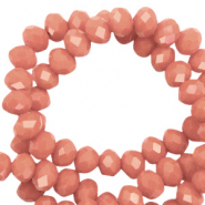 Perles à facettes 4x3mm disque Rose terracotta-pearl shine Coating
