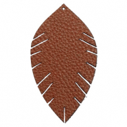 Pendentifs en simili cuir feuille large Marron chocolat