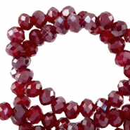 Perles à facettes 4x3mm disque Rouge salsa-pearl shine coating