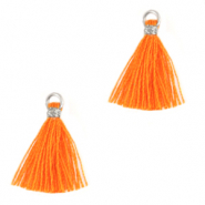 Pompons 1.5cm Argenté-orange flamme