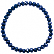 Bracelets perles à facettes 6x4mm Evening blue-pearl shine coating