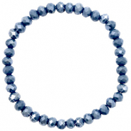 Bracelets perles à facettes 6x4mm Blue stone-pearl shine coating