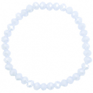 Bracelets perles à facettes 6x4mm Ice blue-pearl shine coating
