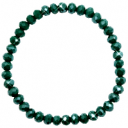 Bracelets perles à facettes 6x4mm Dark eden green-pearl shine coating