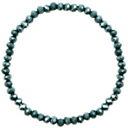 Bracelets perles à facettes 4x3mm Dark eden green-pearl shine coating