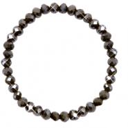 Bracelets perles à facettes 6x4mm Dark olive green-pearl shine coating