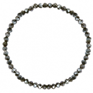 Bracelets perles à facettes 4x3mm Dark olive green-pearl shine coating