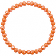 Bracelets perles à facettes 6x4mm Rust orange-pearl shine coating