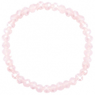 Bracelets perles à facettes 6x4mm Peach pink opal-pearl shine coating