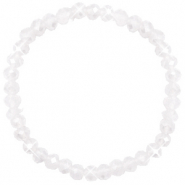 Bracelets perles à facettes 6x4mm White opal-pearl shine coating