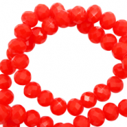 Perles à facettes 4x3mm disque Rouge flamme-Pearl Shine Coating