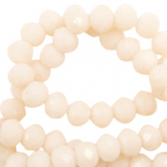 Perles à facettes 4x3mm disque Beige vanille-Pearl Shine Coating