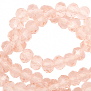 Perles à facettes 4x3mm disque Rose pêche-Pearl Shine Coating