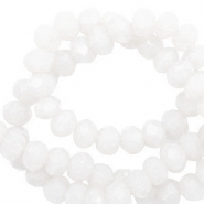Perles à facettes 4x3mm disque Blanc lumineux-Pearl Shine Coating