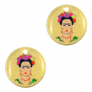 Breloques en métal DQ 15mm Frida Kahlo Bronze antique (sans nickel)