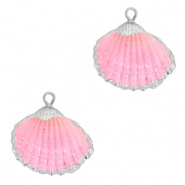 Perles coquillage specials Coque Argenté-Rose