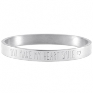 "Bracelet en acier inox avec quote ""You make my heart smile"" argenté"