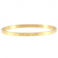 "Bracelet en acier inox avec quote ""wish you luck"" doré"
