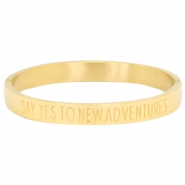 "Bracelet en acier inox avec quote ""SAY YES TO NEW ADVENTURES"" doré"